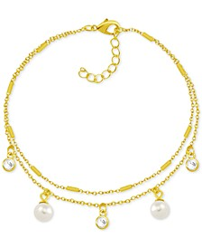 Imitation Pearl & Crystal Two-Row Fine Silver Plate Anklet