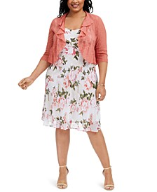 Plus Size Floral-Print Chiffon Dress & Ruffled Shrug