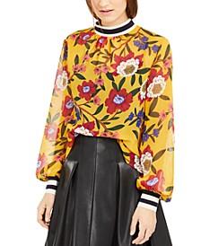 Eloise Floral-Print Striped-Trim Top