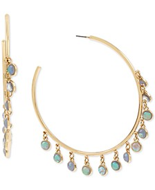 Gold-Tone Shaky Stone Hoop Earrings
