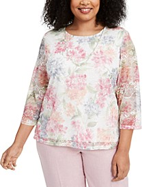 Plus Size Primrose Garden Lace Knit Blouse