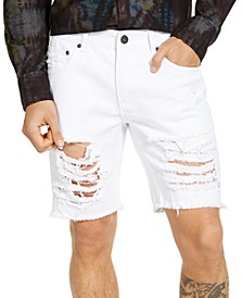 Men's White Ripped Denim Shorts, Created for Macy's