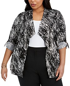 Plus Size Draped Roll-Tab Cardigan