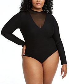 Trendy Plus Size Mesh-Detail Slinky Bodysuit, Created for Macy's