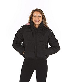 Women's Contrast Lining Hooded Puffer Coat