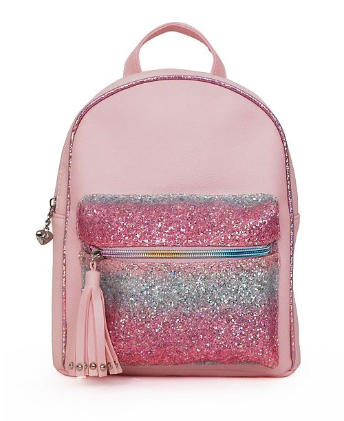 OMG! Accessories Toddler, Little and Big Kids Mini Backpack with Ombre Glitter Pocket