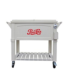 80 Qt. Rolling Patio Cooler Furniture Style Pepsi-Cola Logo