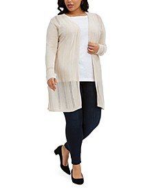 Plus Size Striped Pointelle Cardigan