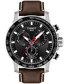 Men's Swiss T-Sport Supersport Chrono Brown Leather Strap Watch 46mm