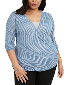 Plus Size Optic-Striped Cardigan