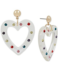 Gold-Tone Enamel Heart Drop Earrings