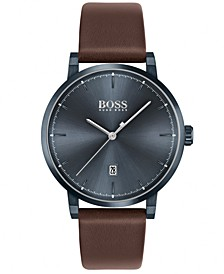 Men's Confidence Brown Leather Strap Watch 42mm