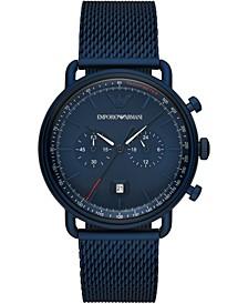 Men's Chronograph Blue Stainless Steel Mesh Bracelet Watch 43mm