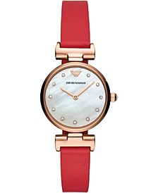 Women's Reversible Red & Multicolor Stripe Leather Strap Watch 28mm