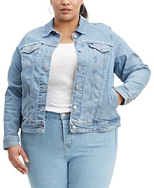 Trendy Plus Size  Trucker Denim Jacket