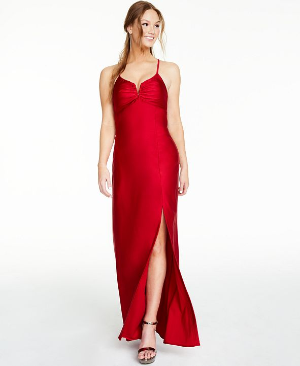 Morgan & Company Juniors' Notch-Neck Gown