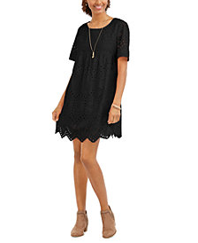 Style & Co Eyelet Babydoll Dress, Created for Macy's