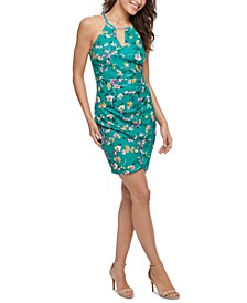 Floral-Print Ruched Bodycon Dress
