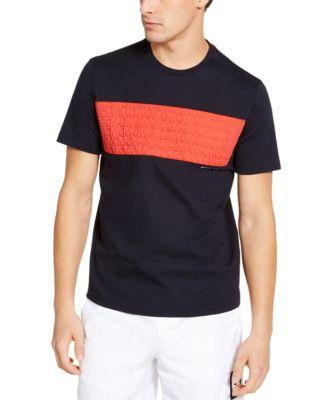 Men's Colorblock Stripe Debossed MK Logo T-Shirt