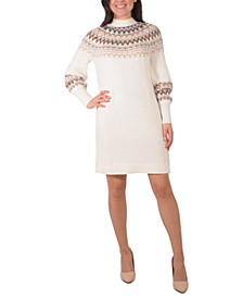 Mock-Neck Fair Isle Sweater Dress