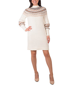 NY Collection Mock-Neck Fair Isle Sweater Dress