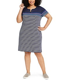 Plus Size Cotton Striped Lace-Up Dress, Created for Macy's