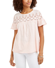 Style & Co Cotton Eyelet-Yoke Top, Created for Macy's