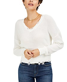 Distressed V-Neck Cotton Sweater, Created for Macy's