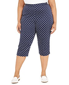 Plus Size Ship Shape Dot-Print Capri Leggings