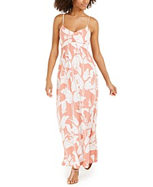 Juniors' Floral-Print Open-Back Maxi Dress