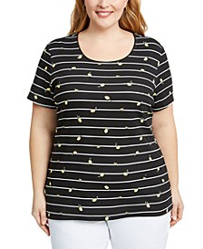 Plus Size Lemon-Print Striped Top, Created for Macy's