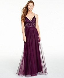 Juniors' Beaded-Bodice Gown