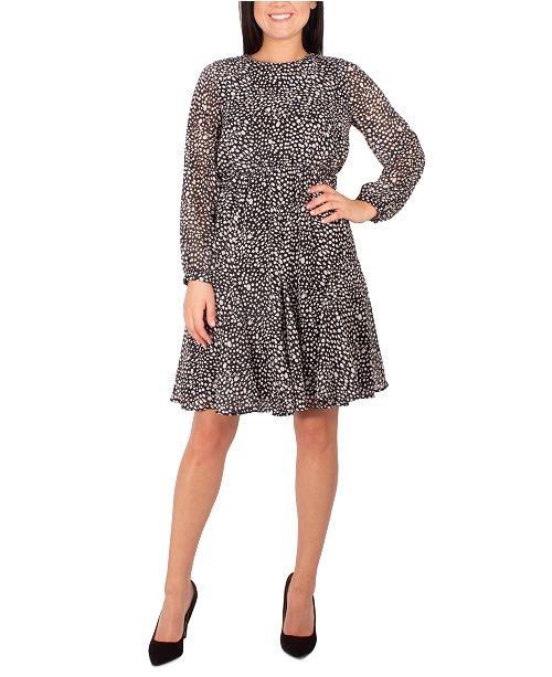 NY Collection Petite Dot-Print Pleated-Skirt Dress