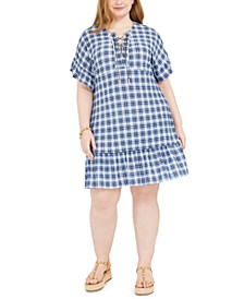 Plus Size Plaid Chain Lace-Up Dress