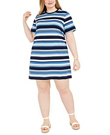 Plus Size Court Stripe T-Shirt Dress
