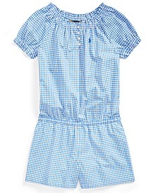 Big Girls Gingham Cotton Poplin Romper