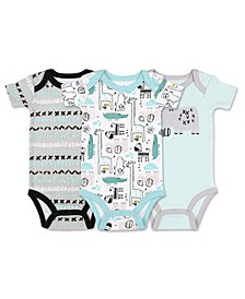 Baby Boy Safari Story Short Sleeve Animals Bodysuit, Pack of 3