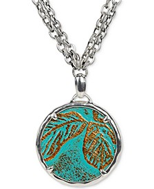"Silver-Tone Turquoise Leather Inset 28"" Pendant Necklace"