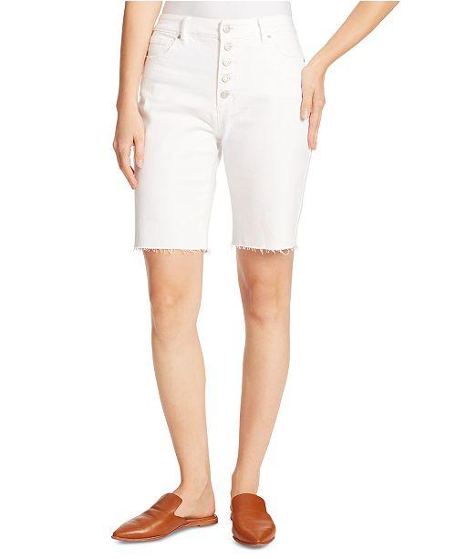 Ella Moss Denim Frayed-Hem Bermuda Shorts