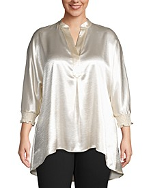 Plus Size Split-Neck Tunic Blouse