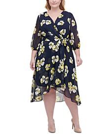 Plus Size Floral-Print Chiffon Midi Dress