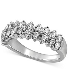 Diamond Double Row Cluster Band (1-1/2 ct. t.w.) in 14k White Gold