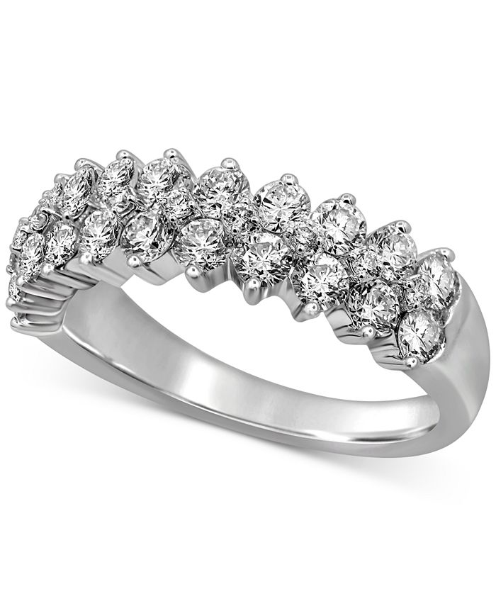 Macy's - Diamond Double Row Cluster Band (1-1/2 ct. t.w.) in 14k White Gold