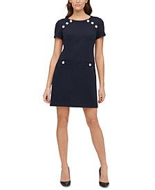 Tommy Hilfiger Petite Piqué Button-Detail Sheath Dress