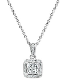 "Diamond Princess Halo 18"" Pendant Necklace (1/2 ct. t.w.) in 14k White Gold"