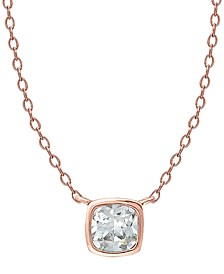 """Cubic Zirconia Bezel Square Pendant Necklace in 18k Rose Gold-Plated Sterling Silver, 16"""" + 2"""" extender"""