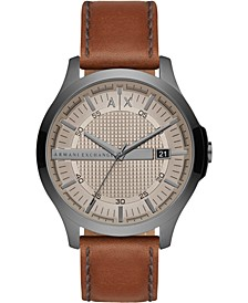 Men's Hampton Brown Leather Strap Watch 46mm