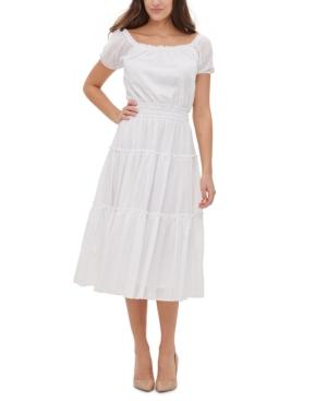 Peasant Dresses & Prairie Dresses Tommy Hilfiger Cotton Tiered Midi Dress $139.00 AT vintagedancer.com