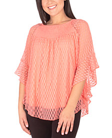 NY Collection Bell-Sleeve Lace Top