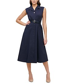 Belted Poplin Midi Shirtdress
